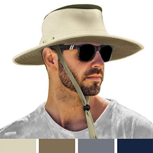 - SUN CUBE Premium Boonie Sun Hat | Wide Brim Chin Strap Summer Bucket Hat | Outdoor, Hiking, Safari, Fishing| UPF 50+ Sun Protection | Packable Breathable Men Women Mesh Hat -Tan