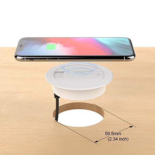Price comparison product image Qi Wireless Desk Charger,DDJ 10W Power Groment Charging Fast Desktop Pad with 1 USB for i Phone XR,XS,Max,X,Samsung Galaxy S9/S8/S8+/Note 8 (White)