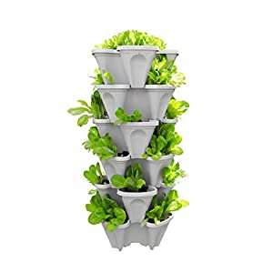 Mr. Stacky 5-Tier Strawberry and Herb Garden Planter – Stackable Gardening Pots with 10 Inch Saucer (Stone)