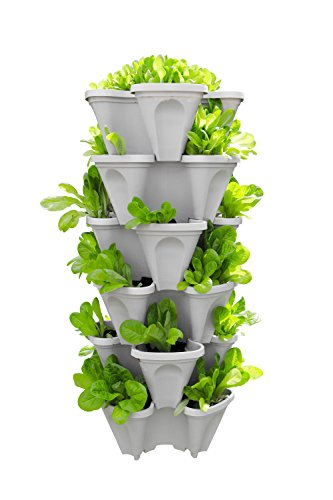 5-Tier Strawberry and Herb Garden Planter - Stackable Gardening Pots with 10 Inch Saucer (Stone) (Stone Planters Garden)