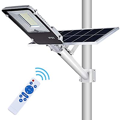 APONUO Solar Street Flood Lights Outdoor Street Light 100W Solar Panel Flood Lamp with Remote Control High Brightness Dusk to Dawn for Yard, Garden, Swimming Pool, Basketball Court, Pathway