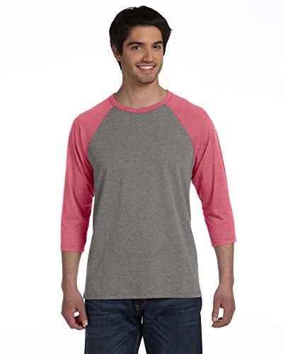 Bella + Canvas Unisex 3/4-Sleeve Baseball T-Shirt>L GREY/LT RED TRIBLEND 3200