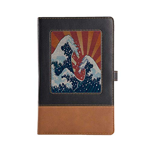DIY Series Notebooks Japanese Wave Rich Patterns and Various Styles Leather Notebook A5, 8.6 x 6.1 Inches