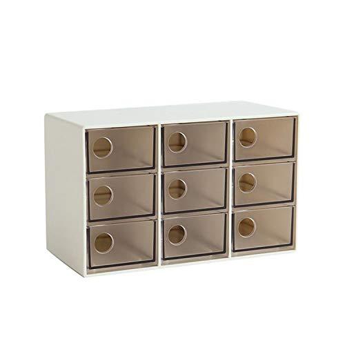 (yunzhongke Storage Box Drawer Type for Office Stationery Sundries Jewelry Desktop Makeup Tools,Nine Grid Brown)