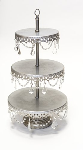 Opulent Treasures 3 Tiered Chandelier Dessert Tray Stand, Antique Silver, Wedding, Anniversary, Birthday Party Buffet Server (Jeweled Cake Stand)