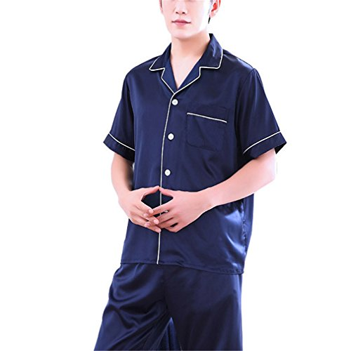 daf04423d1a0 AEOPES Men Satin Ice Silk Sleepwear Suit Summer Male Pajama Set Soft Cozy  Nightgown 70%