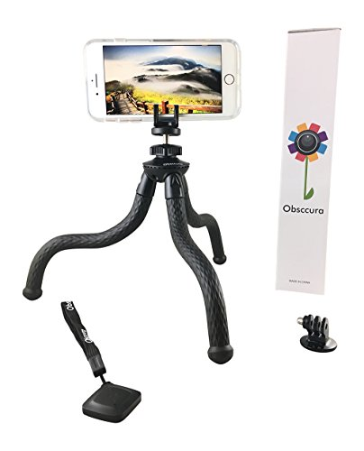 Flexible Portable Adjustable Waterproof Universal Tripod stand Bluetooth remote 5 in 1 Smart Phone holder iPhone 10 8 7 6 Samsung Galaxy Camera, GoPro adapter Tablet Camcorder massive 5-pound weight