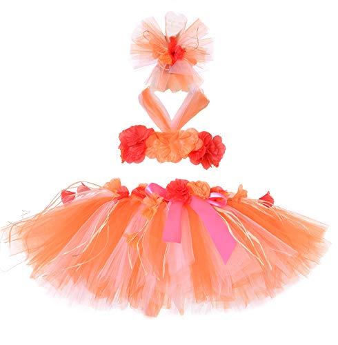 Tutu Dreams Hawaiian Costume for Girls Luau Hula Skirt Set Dance Birthday Beach Party Holiday Free Size (Orange) -