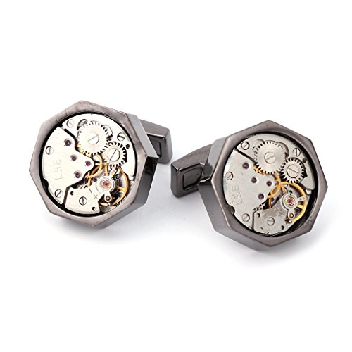 Army Set Cufflinks - Wivily Steampunk Vintage Men's Cufflinks Watch Movement Wedding Party Cuff Links Gifts