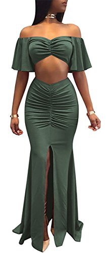 Sexy Military Outfit (Rela Bota Women's Sexy Vintage 2 Piece Outfit Ruffle Off Shoulder Crop Top Maxi Skirt Slit Party Dress Medium Army Green)