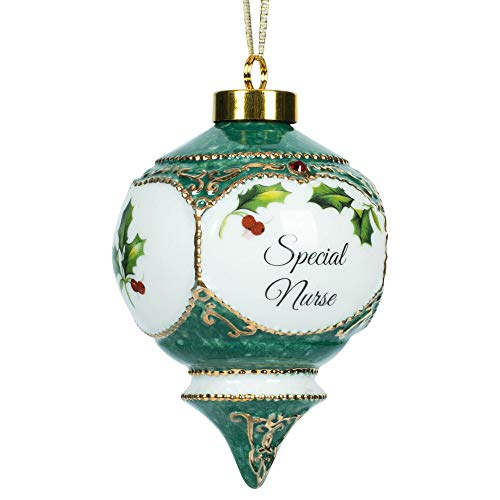 Dentist Festive Holly Berries Red Jewel Victorian 4.5 Inch Porcelain Ball Christmas Ornament