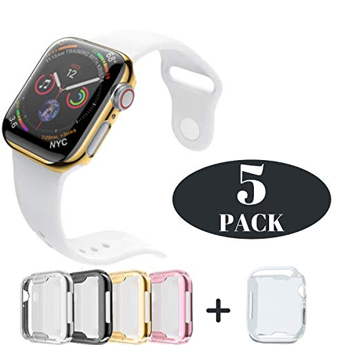 (Case for Apple Watch 44m Series 4 Built-in Screen Protector All Protective Cover 5 Pack Black, Silver, Gold, Rose Gold HD Clear Ultra-Thin 44mm iWatch 4 TPU Cover iV Industry (5 Pack- 44mm))
