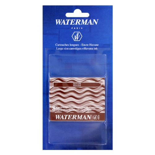 Waterman Standard Fountain Pen Ink Cartridges, Pack of 8 (Havana Brown)