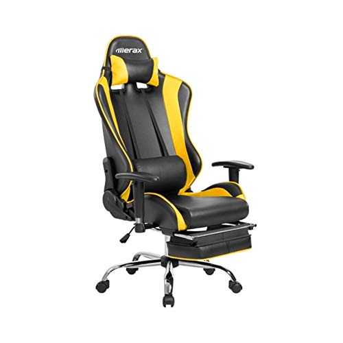 Pneumatic Seat 26' Base - ZHIC High-Back Ergonomic Racing Gaming Office Chair, (Red,Yellow) I Have a Better Life. (Color : Yellow)