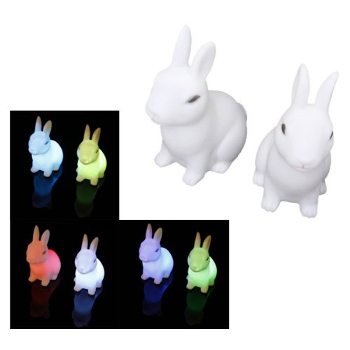Dcolor 2Pcs Color Changing Cute Rabbit-Shaped LED Night Light Decoration Bedside Lamp