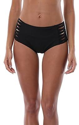 Attraco Women's Solid Color Swim Shorts Bikini Bottom Ruched Brief Swimwear