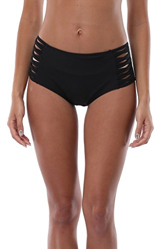 ATTRACO Women's Solid Swim Brief Mid/High Waist Beach Bikini Swimwear Bottom