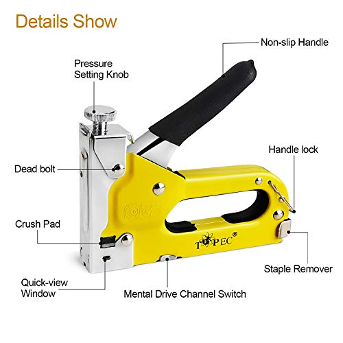 Staple Gun, 3 in 1 Manual Nail Gun with 1800 Staples - Heavy Duty Gun for Upholstery, Fixing Material, Decoration, Carpentry, Furniture by Topec (Image #2)