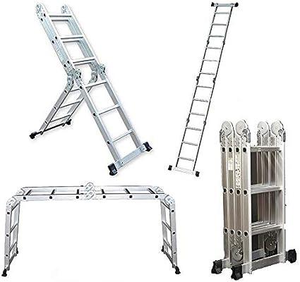 Keraiz 14 en 1 (15.5 pies) 4,7 m plegable Multi escalera con 2 ...