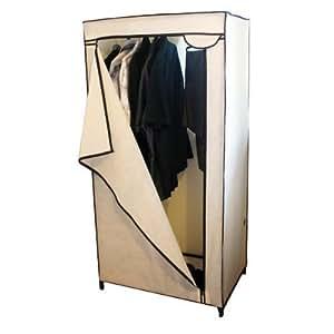 Armario de lona para dormitorio extra, habitación de estudiante, con raíl interno y cremallera frontal, nuevo