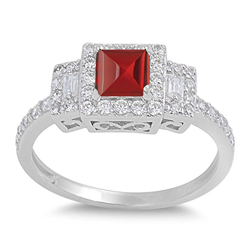 - 925 Sterling Silver Cabochon Natural Genuine Red Garnet Square Ring Size 9