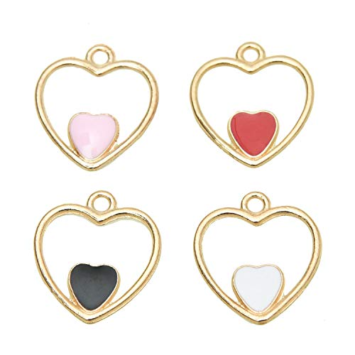 Monrocco Pack of 40 Double-Heart Hollow Heart in Heart Charms Colorful Cute Enamel Charms for Jewelry Making ()
