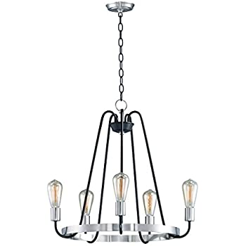 Chandeliers 5 Light Bulb Fixture With Black And Satin Nickel Finish