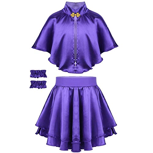 dPois Kids Girls' Greatest Showman Anne Wheeler Costume Cape Top with Skirt and Wristband for Halloween Cosplay Party Purple 6-8]()