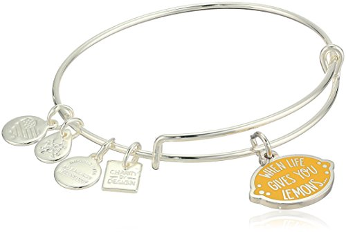 Alex and Ani Womens Charity by Design, When Life Gives You Lemons Bangle Bracelet, Shiny Silver, Expandable (Give Life)