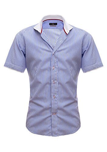 Giorgio Capone - Chemise casual - Loisirs - À Rayures - Col Chemise Italien - Homme -  bleu - X-Large
