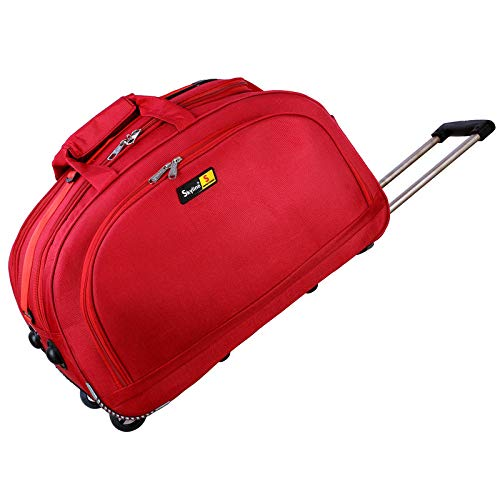 Skyline Unisex Luggage 50 L Travel Duffel Trolley Bag with Wheels, 20 Inches, Red