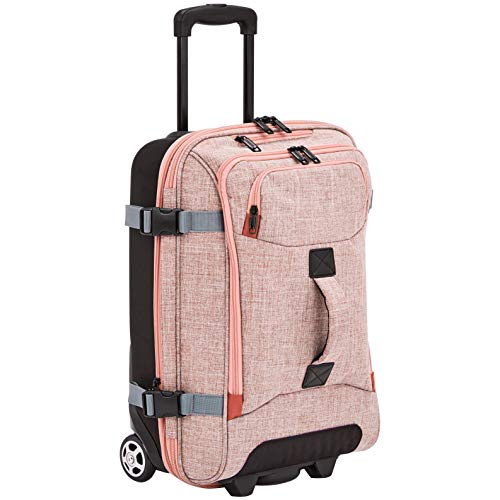 AmazonBasics Rolling Travel Duffel Bag Luggage with Wheels, Small, Salmon