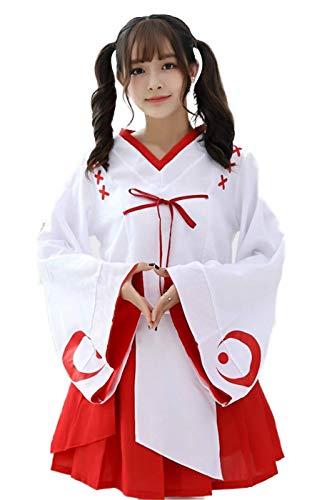 Zen - Women Full Set, Japanese Miko Kimono Costume, Famous Japanese Anime Cosplay (White-Red) -