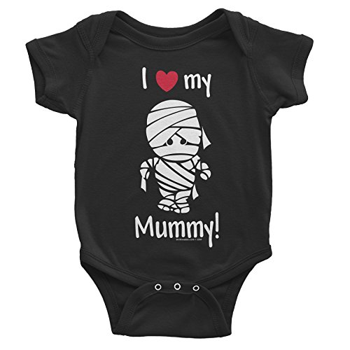 I Love My MUMMY - Funny Halloween Baby Costume - Onesie T-Shirt - Black