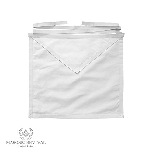 Masonic Revival - White Cotton Member Apron (Single)
