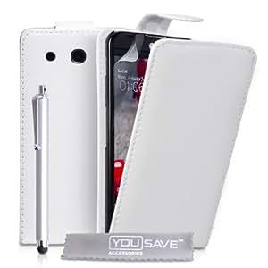 Yousave Accessories con tapa de piel sintética y lápiz capacitivo para LG Optimus G Pro - blanco