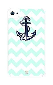 Zheng caseZheng caseiZERCASE Chevron Pattern Mint Color with Anchor Rugged Premium iPhone 4/4s, iPhone 4/4sS case - Fits iPhone 4/4sT-Mobile, AT&T, Sprint, Verizon and International (White)
