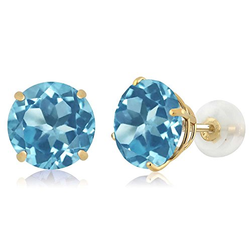 Round Blue Topaz Prong - 14K Yellow Gold Round Swiss Blue Topaz Women's Gemstone Birthstone Earrings (4.40 cttw, 8MM Round)