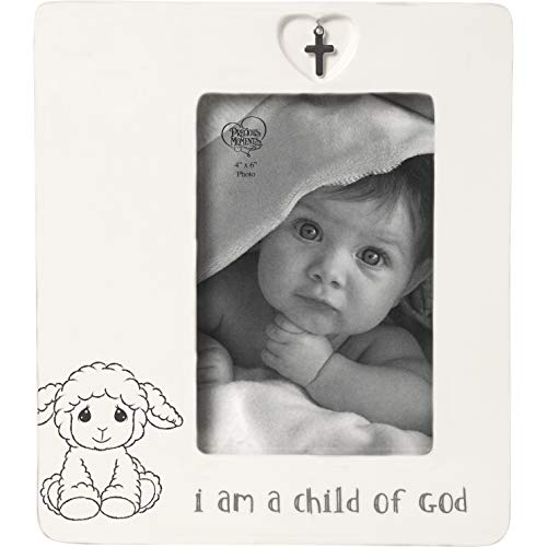 Precious Moments Child of God 4 x 6 Ceramic Baptism Charm 183434 Photo Frame One Size Multi (Frame Baby Boy God)
