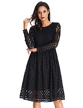 GRACE KARIN Women 3/4 Sleeve Fit and Flare Floral Lace Dress Size S Black