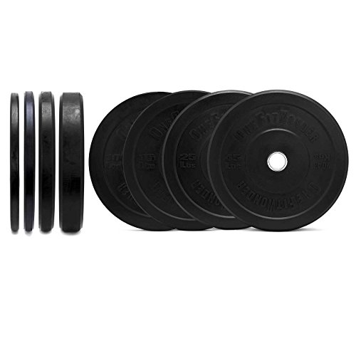 190 Lbs Black Bumper Rubber Plates Set (Pair of 10 / 15 / 25 / 45 Lbs) - Weight Plates for Strength Training, Olympic Weight Lifting, Powerlifting by OneFitWonder