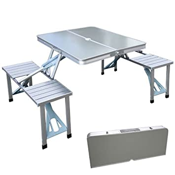 XtremepowerUS Outdoor Aluminum Portable Folding Camp Suitcase Foldable Picnic  Table W/ 4 Seats