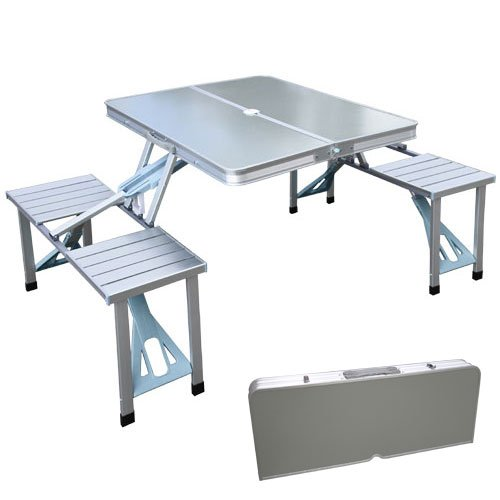xtremepowerus outdoor aluminum portable folding camp suitcase foldable picnic table w 4 seats. Black Bedroom Furniture Sets. Home Design Ideas