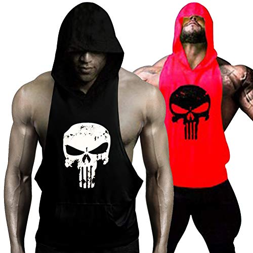 GZXISI Mens Skull Print Stringer Bodybuilding Gym Tank Tops Workout Fitness Vest (2 Pack:Black Hoodie,Red Hoodie, X-Large) -