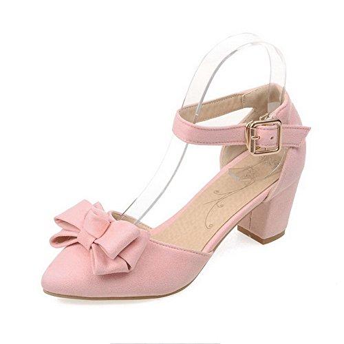 Pelle Fibbia VogueZone009 Medio Scarpe Donna Puro di A Punta Ballerine Mucca Tacco Rosa Chiusa Punta qpgU4xw