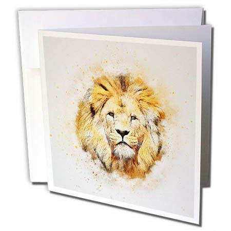 3dRose Lens Art by Florene - Watercolor Art - Image of Portrait Painting of Majestic Lion - 1 Greeting Card with Envelope (gc_300361_5)