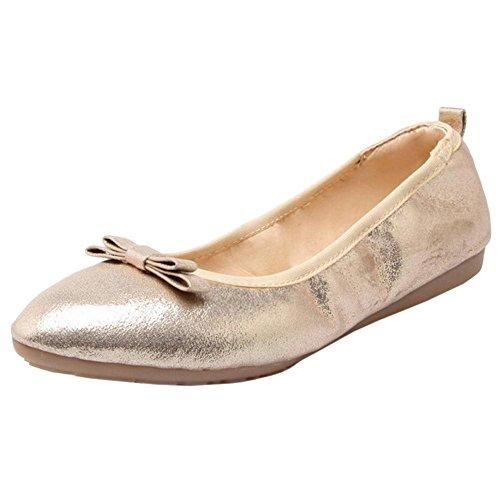 TAOFFEN Women's Comfy Flat Shoes Gold j5dT9B