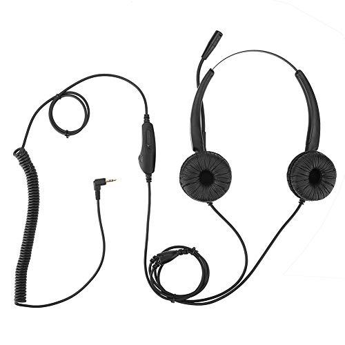 Ichiias Over Ear Headphone Dehnbarer 2,5-mm-Callcenter-Kopfhörer mit Rauschunterdrückung MIC