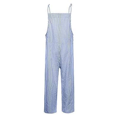 Euone Womans Romper Clearances, Fashion Women Pocket Bandage Sleeveless Jumpsuit Stripe Bodysuit Playsuit Romper: Kitchen & Dining