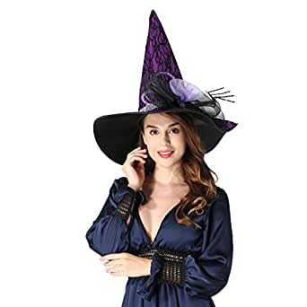 "sdsaena women's luxury 17.5"" high party halloween witch hat black/orange/purple adult (pueple) set of 3"